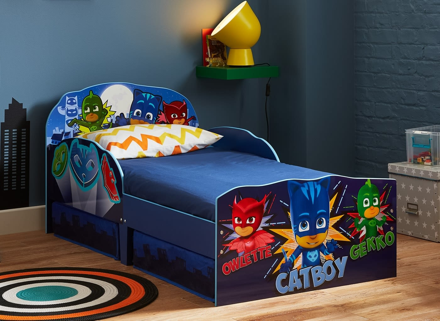 Pj Masks Toddler Bed With Storage 2 6 Small Single Blue