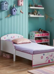 Flowers And Birds Toddler Bed 2'6 Small Single Pink