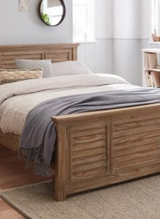 Clark White Wash Wooden Double Bed Frame 4'6 Double Brown Light Wood