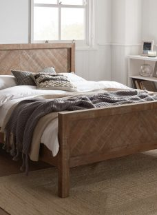 Leighton White Wash Wooden Double Bed Frame 4'6 Double Brown Light Wood