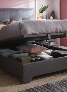 Hopkins Grey Fabric Ottoman Double Bed Frame 4'6 Double Slate Grey
