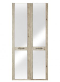 Samara 2 Door Wardrobe With Mirrors - Oak Wardrobe Oak Effect