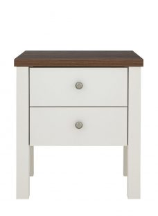 Sloane 2 Drawer Bedside Chest - Champagne and Dark Wood Chest Off White