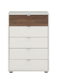 Cali 5 Drawer Narrow Chest - Champagne and Dark Wood Chest Off White