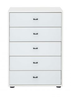 Trinidad 5 Drawer Narrow Chest - White Chest
