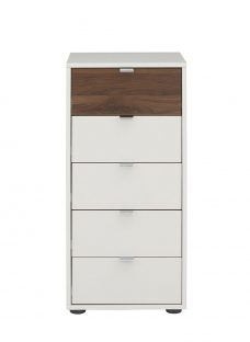 Cali 5 Drawer Tallboy - Champagne and Dark Wood Chest Off White