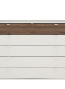 Cali 5 Drawer Wide Chest - Champagne and Dark Wood Chest Off White