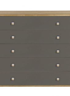 Minsk 5 Drawer Wide Chest - Oak and Grey Chest