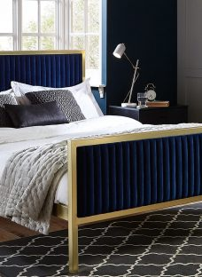 Addison Gold and Blue Metal Bed Frame 5'0 King Fabric