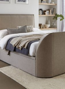 Alexander Oatmeal Fabric TV Ottoman Bed Frame 6'0 Super King