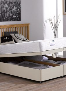 Beaumont Pocket Sprung Ottoman Bed - Firm - Beige 4'6 Double Off White