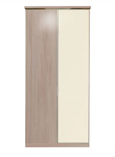 Berkeley 2 Door Hinged Wardrobe - Oak and Magnolia Glass Other Off White Painted Wood