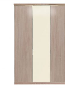 Berkeley 3 Door Hinged Wardrobe - Oak and Magnolia Glass Other Off White Painted Wood