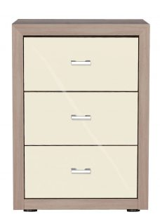 Berkeley 3 Drawer Bedside Chest - Oak and Magnolia Glass Chest Off White Painted Wood