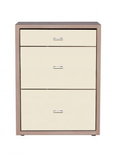 Berkeley 3 Drawer Narrow Chest - Oak and Magnolia Glass Chest Off White Painted Wood