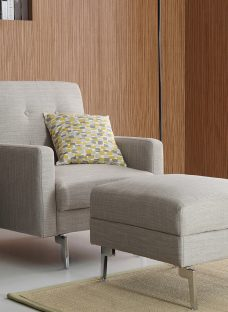 Blair Chair & Footstool 1 Seater Stone Fabric