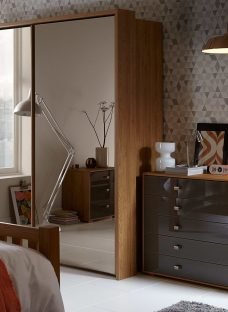 Minsk 2 Door Medium Sliding Wardrobe - Oak and Bronze Wardrobe