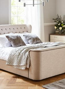 Brussels Natural Fabric Bed Frame 4'6 Double