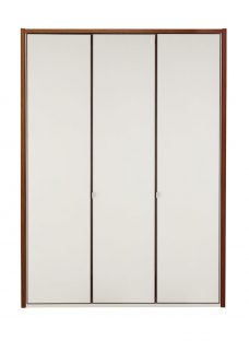 Cali 3 Door Wardrobe - Champagne and Dark Wood Wardrobe Off White