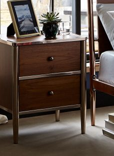 Calvert 2 Drawer Bedside Chest - Walnut and Copper Chest Other
