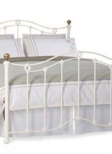 Clarina Glossy Ivory Metal Bed Frame 6'0 Super King Off White