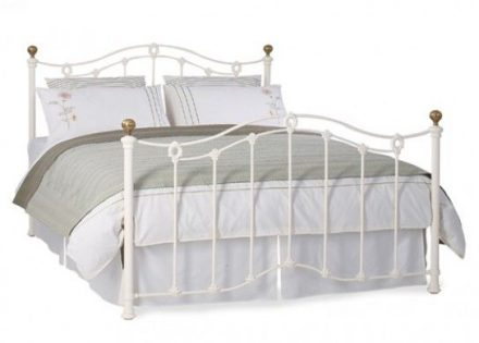 Clarina Glossy Ivory Metal Bed Frame 5'0 King Off White