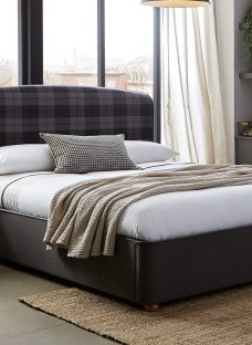 Donnie Grey Tartan Bed Frame 4'6 Double Fabric