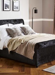 Ellen Black Crushed Velvet Bed Frame 5'0 King Fabric