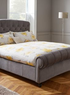 Ellis Dark Grey Velvet Finish Bed Frame 6'0 Super King Fabric
