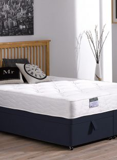 Fenton Traditional Spring Ottoman Bed - Firm - Blue 3'0 Single