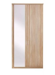 Florida 2 Door Wardrobe With 1 Mirrored Door Wardrobe Natural Light wood