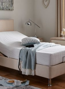 Fontwell Mattress With Standard Oatmeal Adjustable Divan Bed On Legs - Firm 2'6 Small Single
