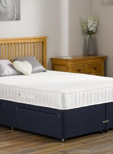 Franklin Traditional Spring Divan Bed - Medium - Blue 3'0 Single