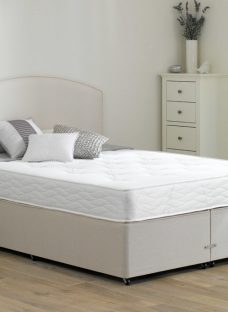 Halliday Traditional Spring Divan Bed - Firm - Beige 4'6 Double Off White