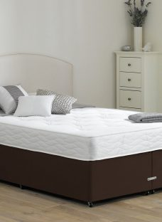 Halliday Traditional Spring Divan Bed - Firm - Mocha 4'6 Double Dark Brown