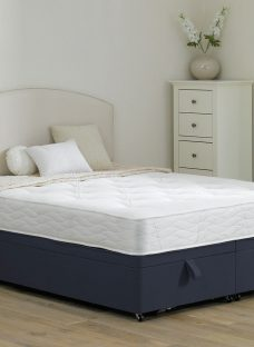 Halliday Traditional Spring Ottoman Divan Bed - Soft - Blue 4'6 Double