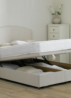Halliday Traditional Spring Ottoman Divan Bed - Soft - Beige 4'6 Double Off White