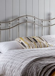 Louis Chrome Metal Headboard 4'6 Double Silver