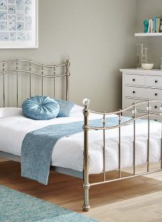 Louis Chrome Metal Bed Frame 4'6 Double Silver