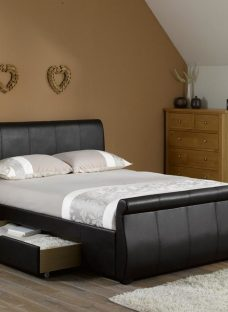 Lucia Brown Faux Leather Upholstered Bed Frame 4'6 Double Dark Brown