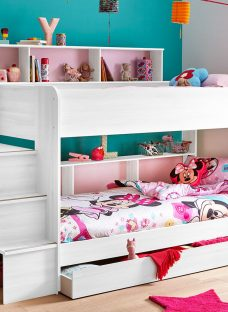 Lydia Bunk Bed - White 3'0 Euro Single Light Wood