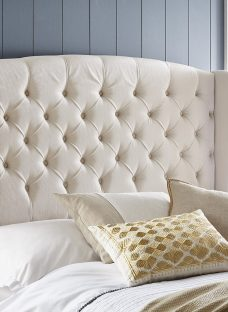 Canberra Winged Cream Fabric Headboard 5'0 King