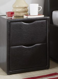 Manhattan Black Bonded Leather 2 Drawer Bedside Chest Chest Faux Leather