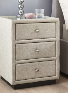 Fabric 3 Drawer Bedside Chest - Oatmeal Chest