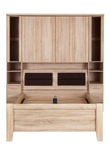 Florida Over-Bed Unit with Bed and Storage Box - Double Chest Natural