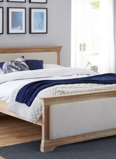 Sabina Natural Oak Wooden & Fabric Upholstered Bed Frame 5'0 King