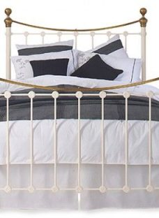 Selkirk Glossy Ivory Metal Bed Frame 5'0 King Off White