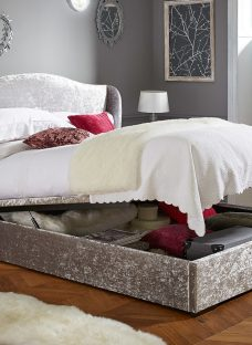 Showan Silver Crushed Velvet Ottoman Bed Frame 4'6 Double Fabric