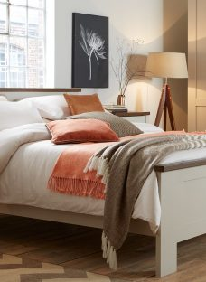 Sloane Bed Frame - Champagne and Dark Wood 4'6 Double Off White