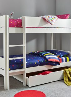 Tinsley Bunk Bed with Drawer - White 3'0 Single